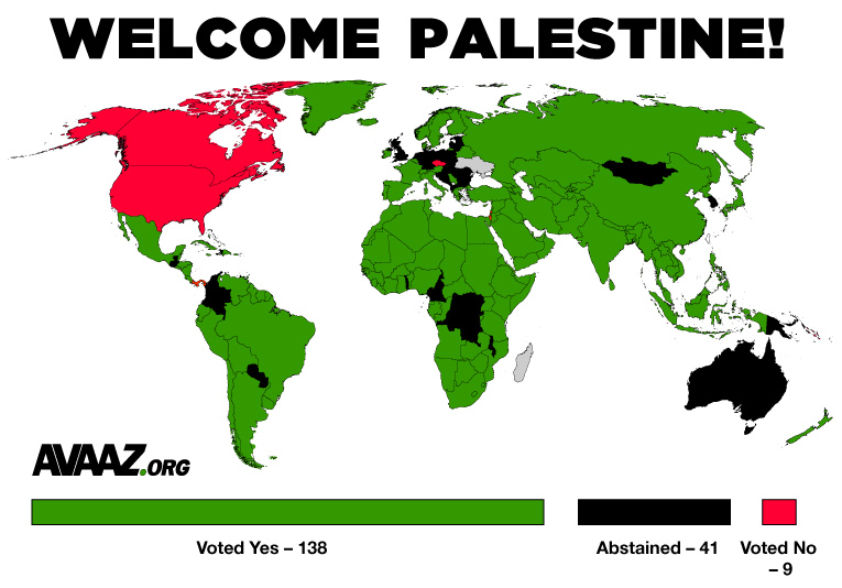 Map of votes for and against Palestinian statehood