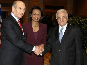 Olmert with Rice and Abbas in 2007