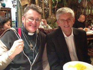 enjoying dinner with Rev. Stepen Sizer in London